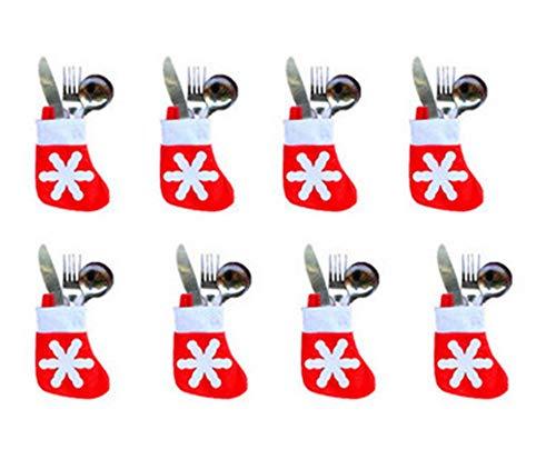 Sweetvt-new porta carte d'argento portaposate di natale mini calze di natale decorazione per tavola di natale 12 pezzi