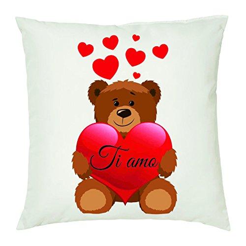 Cuscino 40 x 40 con Scritta Ti Amo Orsetto Cuore Idea Regalo San Valentino