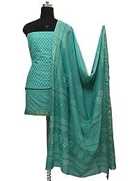 Gleamberry Women's Cotton Silk Block Print Maheshwari Chanderi Dress Material Set (GBDM34, Green, Free Size)