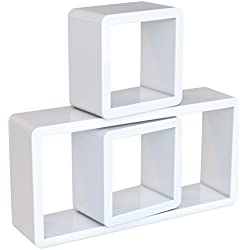 SONGMICS Étagères murales Lot de 3 Lounge Cube pour CD Livres Blanc LWS102