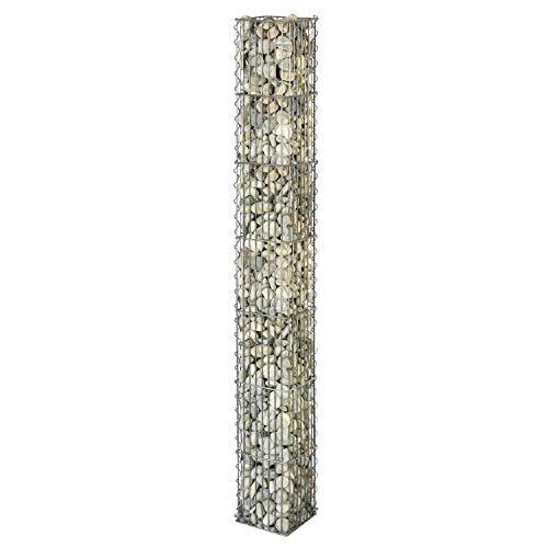 bellissa Gabionen-Steinsäule eckig - 95541 - Dekorative Gabionensäule für den Außenbereich - 20 x 20 x 175 cm