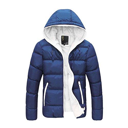 ESYN New Herren Winter Lässige starke warme Mantel-Jacken Cotton-padded Outwear 4 Farben Dark Blue