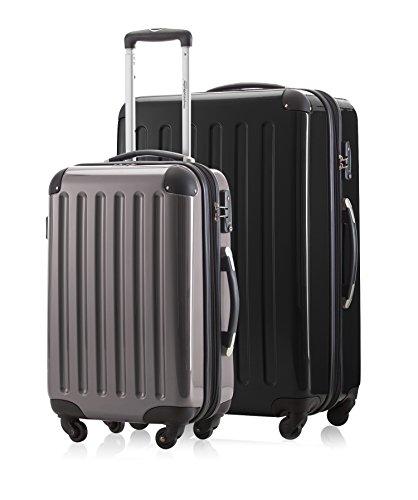 2er Kofferset Handgepäck + Reisekoffer in verschiedenen Farben von HAUPTSTADTKOFFER Ⓡ (Schwarz 119 L, Titan 42 L)