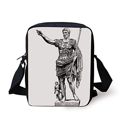 CBBBB Toga Party,Antique Statue of Augustus Vintage Ancient Historical King Emperor Figure Print Decorative,Black White Print Kids Crossbody Messenger Bag Purse