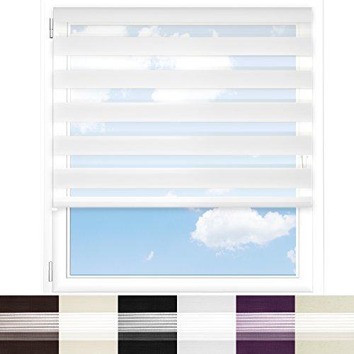 Tenda a rullo oscurante doppia funzione casa pura® | Giorno/notte | Semitrasparente | Diversi colori e misure | Bianco, 60x150