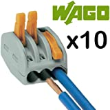 Wago Connectors 222-413, 3-Port Lever Cage Clamp Terminal Block, Pack of 10