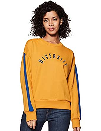 Amazon Brand - Symbol Women's Cotton Sweatshirt (AW18WNSSW34_Camel + Cobalt Blue_X-Small)