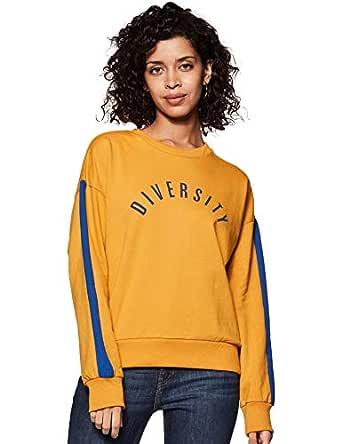 Amazon Brand - Symbol Women's Cotton Sweatshirt (AW18WNSSW34_Camel + Cobalt Blue_Small)