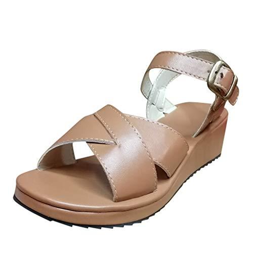 Wawer✿ -Mode Fashion Sommer Zehen öffnen Dicker Boden Römische Sandalen-Frauen Espadrilles Lässig Sandalen Strandschuhe Einzelne Schuhe High Heels