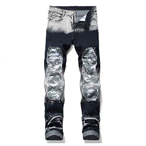 MOTOCO Herren Hosen Hosen Jeans Knopf Reißverschlusstasche Persönlichkeit Camouflage Print Stitching Casual Hosen Slim Print Leggings Jeans Shorts/Hosen(42,Weiß-1) (Hose Dirt Bike 42)