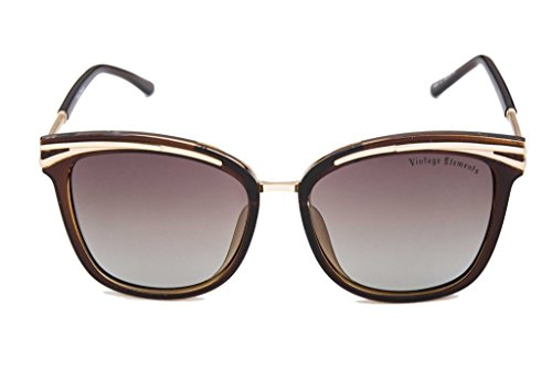 Vintage Elements Polarized Women's Sunglass Brown Frame & Brown Shaded Lens
