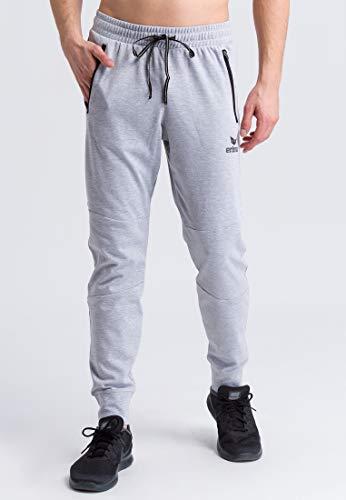 ERIMA Erwachsene Essential Sweathose mit seitlichen Reißverschlusstaschen, hellgrau melange/Schwarz, S