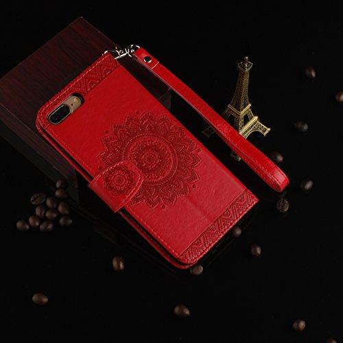 iPhone 7 Plus Hülle,Apple iphone Hülle Lederhülle,Cozy Hut Schutzhülle / Cover / Handyhülle / Etui für Apple iPhone 7 Plus (5,5 Zoll) Panda National treasure Muster Design Folio PU Leder Tasche Case H Rote