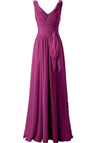 Missdressy Damen Chiffon Lang U-Ausschnitt Falten Band Aermellos Abendkleider Partykleider Hochzeitsgaest Kleider Abiball Abschlussball Fuchsia