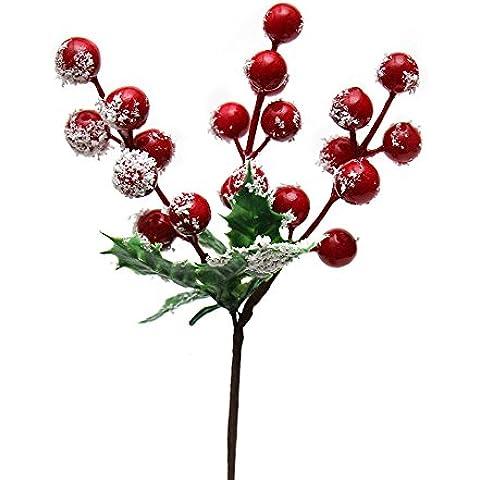 flashing lights- Navidad ramas y hojas 22x12 Cm fruta roja pegajosa nieve de la Navidad de la rota de la guirnalda