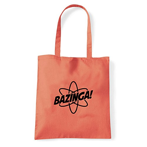 Art T-shirt, Borsa Shoulder Athomic Athomic Bazinga, Shopper, Mare Corallo