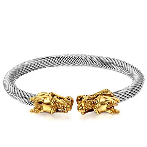 JewelryWe Schmuck Herren Damen Armband, Doppel Drachen Poliert Draht Armreif, Edelstahl, Silber Gold