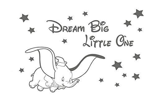 Wandaufkleber Kinderzimmer Dumbo Disney Dream Big Little One Kinderzimmer Baby Aufkleber für Wohnzimmer für Schlafzimmer für Kinderzimmer Kinderzimmer