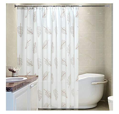 AiZnoY Polyester Duschvorhang Anti-Schimmel Wasserdicht An Badewanne Bad Vorhang Für Badezimmer Inkl. 12 Duschvorhangringen Blatt White 300X200Cm