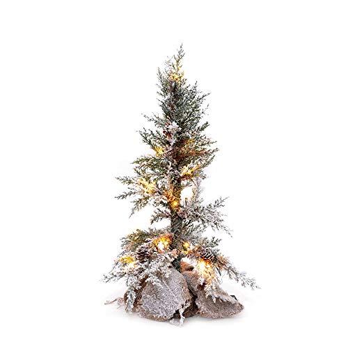 Shatchi - Centrotavola a Forma di Albero di Natale con pigne, ricoperto di Neve, con Base in Iuta per Decorazione, Colore: Verde, 50 cm