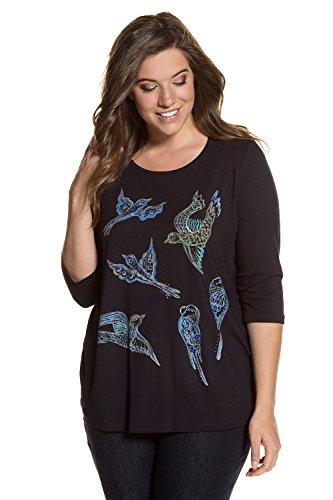 Verziert Long Sleeve Jersey-t-shirt (Ulla Popken Damen Große Größen   Shirt   Color-Strass   Vogel- Muster   3/4-Ärmel   bis Größe 62+   Dunkelblau 50/52 712112 70-50+)