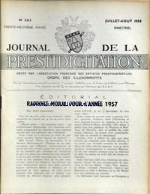 JOURNAL DE LA PRESTIDIGITATION [No 203] du 01/07/1958 - RAPPORT MORAL POUR 57.