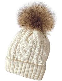 Tongshi Las mujeres invierno Crochet sombrero piel Cannabis lana Knit gorro  mapache caliente fd7519fdf56