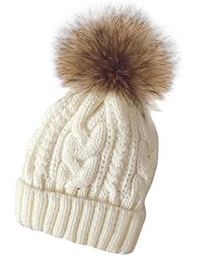 Tongshi Las mujeres invierno Crochet sombrero piel Cannabis lana Knit gorro mapache caliente