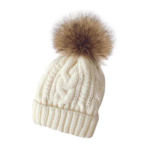Tongshi Las mujeres invierno Crochet sombrero piel Cannabis lana Knit gorro mapache caliente (Blanco)