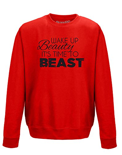 wake-up-beauty-its-time-to-beast-sweatshirt-imprime-adultes-rouge-noir-m-102cm