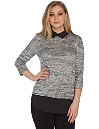 Roman Originals - Top Manches 3/4 Col Claudine Doublé - Gris