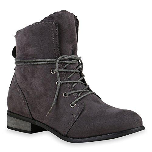 Schnürstiefeletten Damen Velours Lederoptik Stiefeletten Boots Grau