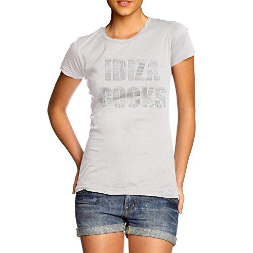 Damen Ibiza Rocks Rhinestone Crystal Diamante T Shirt Damen Erwachsene Größen 10–16 Gr. Größe Der Frauen 40, weiß (Rock Crystal Damen-t-shirt)