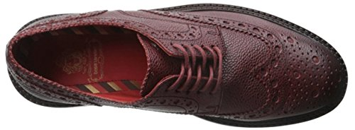 Base London Mens Faraday Leather Casual Everyday Lace Up Shoes Red Scotch Grain