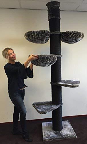 RHRQuality Kratzbaum Grosse Katzen stabil XXL Maine Coon Tower Plus Blackline Dunkel Grau deckenhoch Deckenhöhe 245-265cm Katzenkratzbaum für schwere Katze hoch