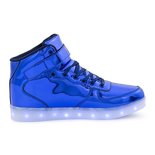 AFFINEST Haut-dessus chargement USB LED chaussures clignotant chaussures de sport pour les enfants PU-bleu