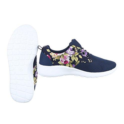 Low-Top Sneaker Damenschuhe Low-Top Sneakers Schnürsenkel Ital-Design Freizeitschuhe Dunkelblau iuroo