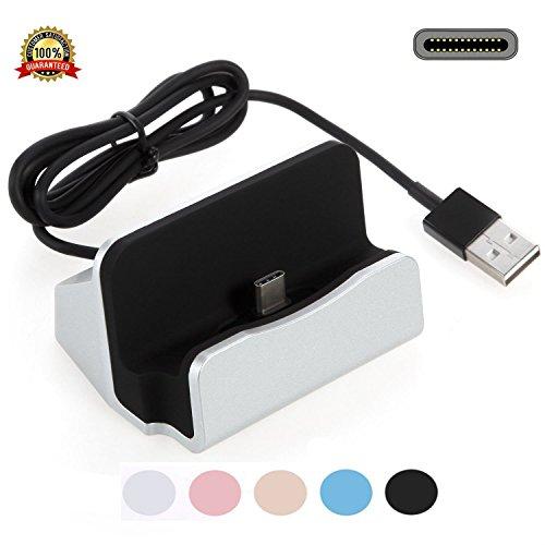 USB Ladegerät Charger Dock,YooGoal TYPE-C Ladestation mit USB-C 3.1 Dockingstation Handy Halterung Data Sync-Ladekabel für Samsung Galaxy S8, OnePlus , Huawei P9 P10, LG G5, HTC 10, Google Pixel, Xperia XZ P XZs Z5 und weitere USB-C-Smartphone - Silber