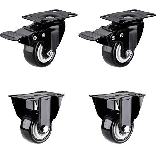 Casters 2 Zoll / 4 Lenkrollen 50mm + Schrauben 200KG Schwerlastrollen Lenkrad Gummirollen für Möbel Tischwagen Bett Werkbank Zubehör Rad -