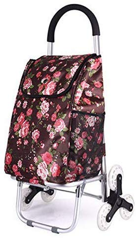MJK Carro, carrito de compras plegable portátil multifuncional plegable, carrito de alimentos carrito pequeño carrito de aluminio carrito escaleras para subir carrito plegable inicio,Rosa china