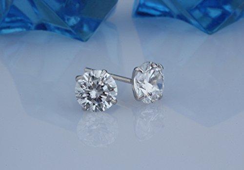 925 sterline d'argento Crystals from Swarovski Bianco taglio brillante rotondo Orecchini a lobo 6 mm per donne e ragazze