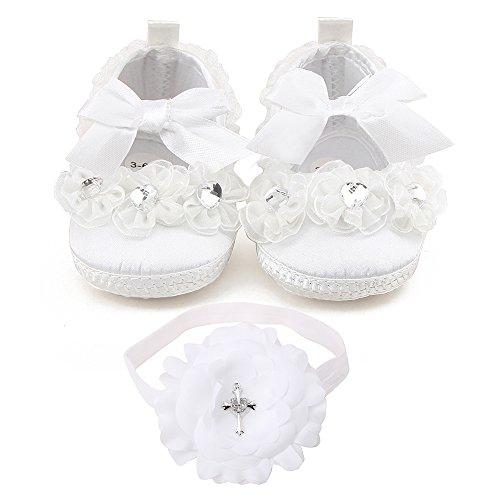 Delebao-Zapatos bebé Color Blanco Bautizo Guantes