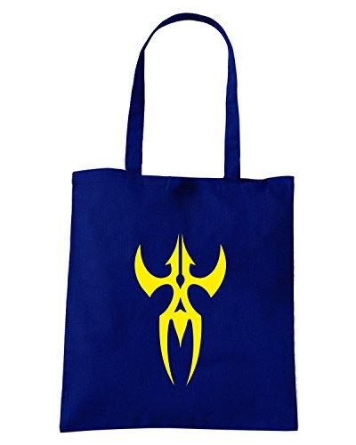 T-Shirtshock - Borsa Shopping FUN0445 2274 tribal sticker design 06 36827 Blu Navy