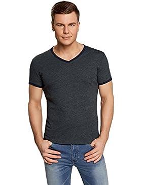 oodji Ultra Hombre Camiseta con Cuello Pico y Acabado en Contraste