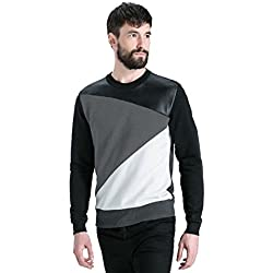 LEWEL Men's Cotton Stylish Round Neck Full Sleeve T-Shirt (Large, LEWEL14L, Multicolour)
