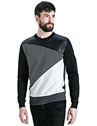 LEWEL Men's Cotton , Young Round Neck Full Sleeves Rexin T-Shirt