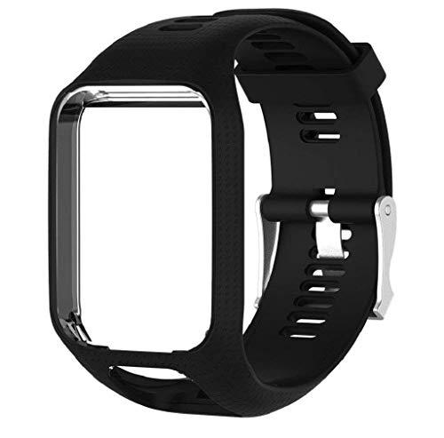 Mode-Strap, Moeavan Zubehör-Ersatz Gurt weiche Silikon-Gel-Uhrenband Wristband Sport-Armband für TomTom Runner 2/Runner 3/Funke 3/Adventurer/Golfer 2 Sport-GPS laufen Smartwatch (Schwarz)