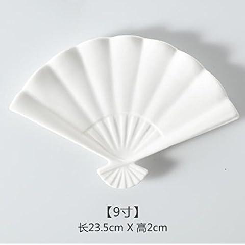 XQXPiatti creativi in ceramica bianche irregolare con la torta di riso spuntino piatto piccolo bambino biscotto stoviglie piatto piccolo , 9 inch sector disk
