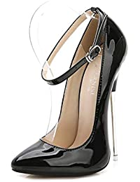 09532b906ea526 DANDANJIE Damen Super High Heel Schuhe Mode Knöchelriemen Stiletto Absatz  Spitze Hochzeit Schuhe