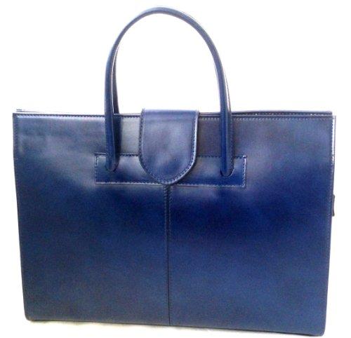 CTM Borsa da Donna a mano Portadocumenti in Vera Pelle Made in Italy Blu